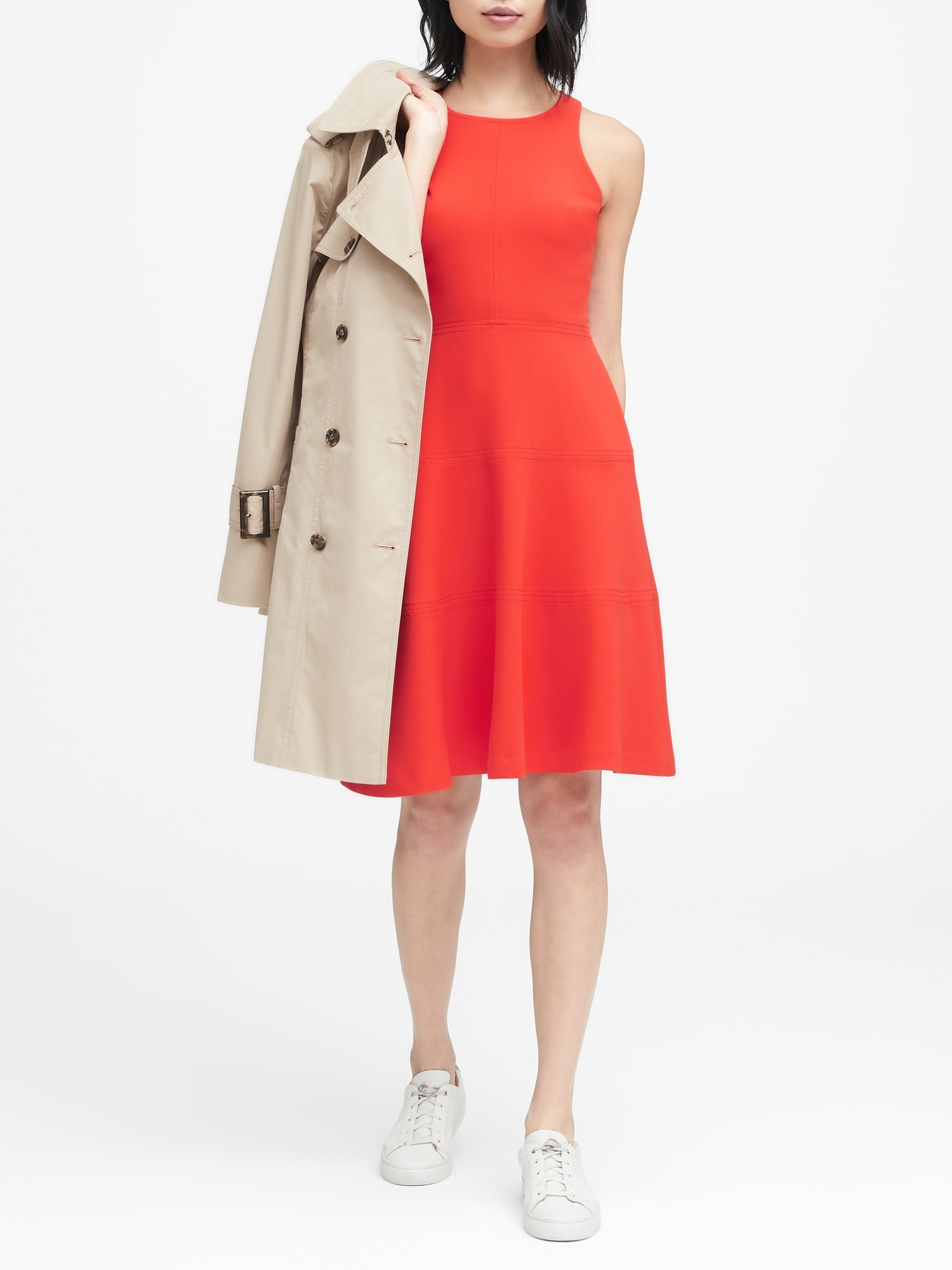 c8693b8bf Petite Stretch Racerback Fit-and-Flare Dress | Banana Republic