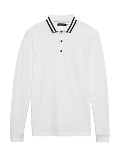 Don't-Sweat-It Long-Sleeve Stripe-Collar Polo