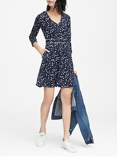 Petite Floral V-Neck Fit-and-Flare Dress