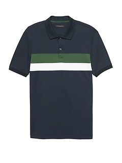 Slim Luxury-Touch Chest Stripe Polo