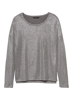 Soft-Stretch Long-Sleeve Metallic Relaxed T-Shirt