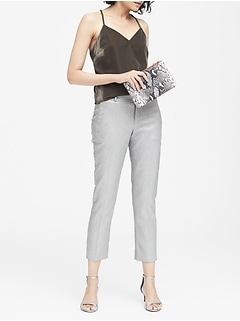 Avery Straight-Fit Metallic Ankle Pant