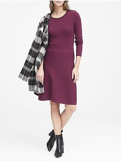 Button-Shoulder Sweater Dress