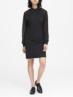 JAPAN EXCLUSIVE Soft Ponte Ruched-Neck Shift Dress