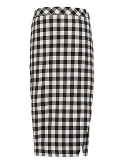 JAPAN EXCLUSIVE Buffalo Plaid Wrap-Effect Pencil Skirt