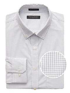 NEW Slim-Fit Tech-Stretch Cotton Windowpane Shirt
