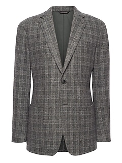 Slim Plaid Wool-Blend Blazer