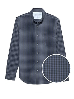 Slim-Fit Luxe Poplin Grid Shirt