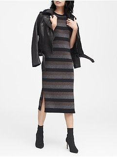 Metallic Stripe Sweater Dress