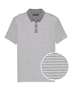 Luxury-Touch Performance Contrast-Collar Polo