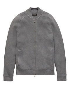 SUPIMA® Cotton Bomber Sweater Jacket
