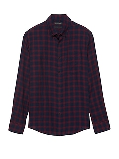 NEW Slim-Fit Crinkle Cotton Flannel Shirt
