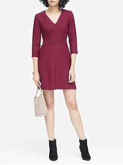 Solid V-Neck Fit-and-Flare Dress