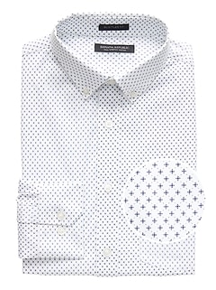 NEW Slim-Fit Tech-Stretch Cotton Cross Print Shirt