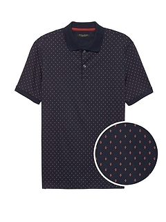 Slim Luxury-Touch Diamond Print Polo