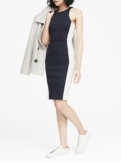 Color-Blocked Racer-Neck Sheath Dress