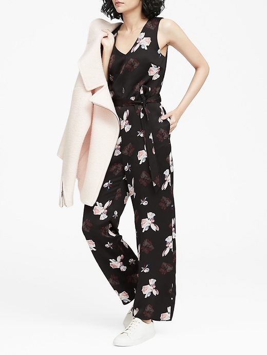 Floral V-Neck Wide-Leg Jumpsuit