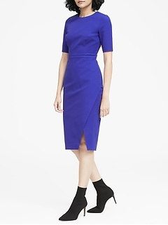 Bi-Stretch Short-Sleeve Sheath Dress
