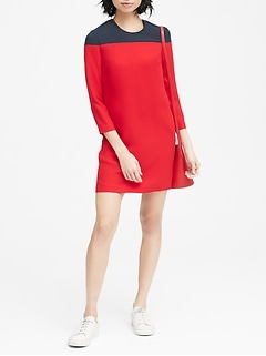 Color-Blocked Shift Dress