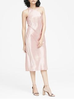 Textured Satin Racerback Dress