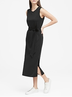 Soft Ponte Midi Tank Dress with Side Slits