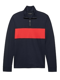 Luxury-Touch Half-Zip Chest-Stripe T-Shirt