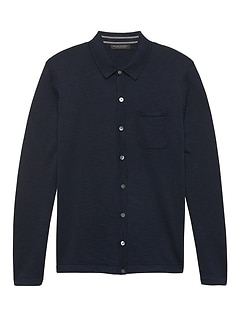 Button-Front Sweater Polo