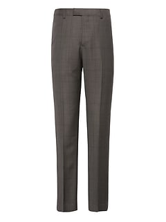 Slim Windowpane Italian Wool Suit Pant