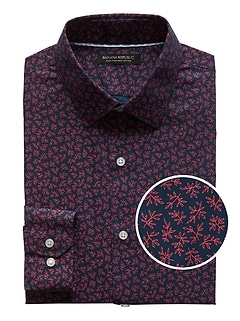Grant Slim-Fit Non-Iron Leaf Print Shirt