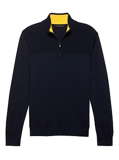 Cotton Cashmere Half-Zip Sweater