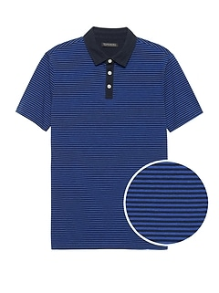 Slim Luxury-Touch Performance Contrast-Collar Polo