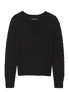 Cable-Knit Cropped V-Neck Sweater a1393aec2