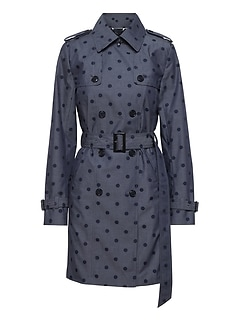 Chambray Polka Dot Trench Coat