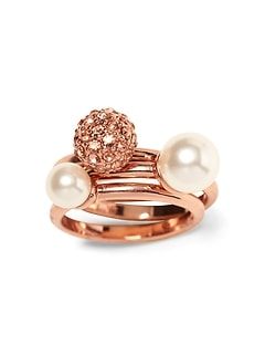 Blush Fireball and Pearl Stacking Ring