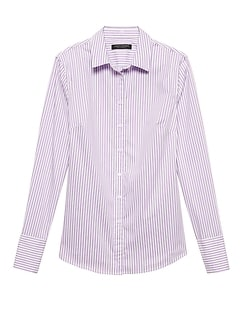 Petite Riley Tailored-Fit Stripe Super-Stretch Shirt
