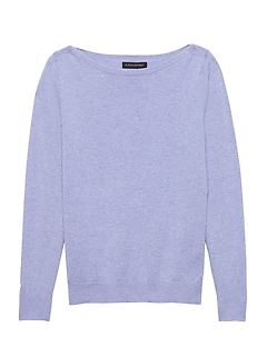 Stretch Cotton Boat-Neck Sweater