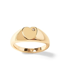 Heart with Stone Signet Ring
