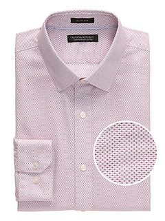 Grant Slim-Fit Non-Iron Dobby Print Dress Shirt