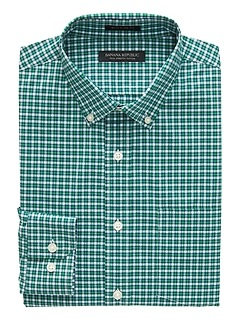 Slim-Fit Tech-Stretch Cotton Tattersall Shirt