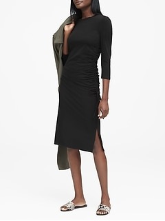 Soft Ponte Side-Ruched T-Shirt Dress