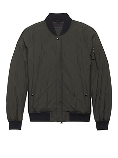 Water-Resistant Quilted Bomber Jacket
