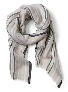 Linen Shine Stripe Rectangular Scarf