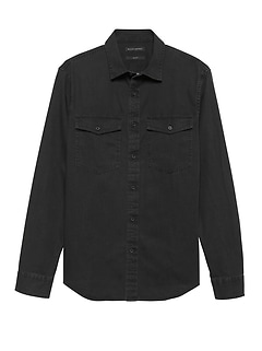 Slim-Fit Chambray Utility Shirt