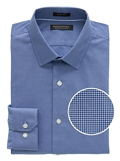 Grant Slim-Fit Non-Iron Gingham Dress Shirt