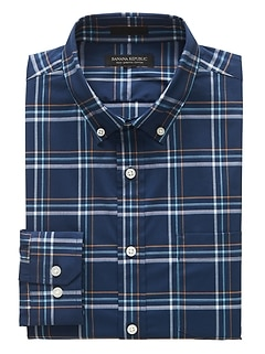 Slim-Fit Tech-Stretch Cotton Plaid Shirt