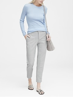 Petite Avery Straight-Fit Heathered Ankle Pant