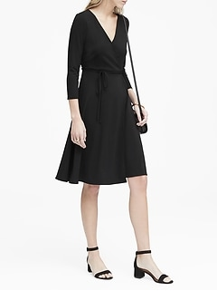 Petite Soft Ponte Wrap Dress