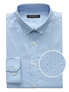 Slim-Fit Tech-Stretch Cotton Dot Print Shirt