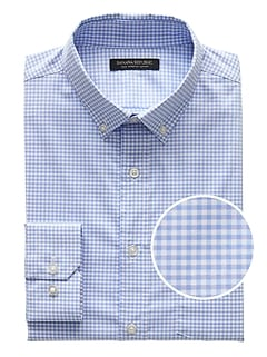 Slim-Fit Tech-Stretch Cotton Gingham Shirt