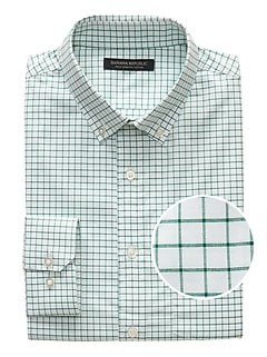 Slim-Fit Tech-Stretch Cotton Grid Shirt